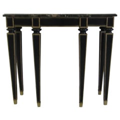 French Modern Neoclassical Ebonized Wood & Black Marble Console by Maison Jansen