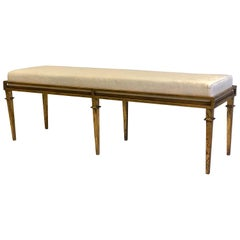 French Modern Neoclassical Gilt Iron Bench attributed to Maison Ramsay
