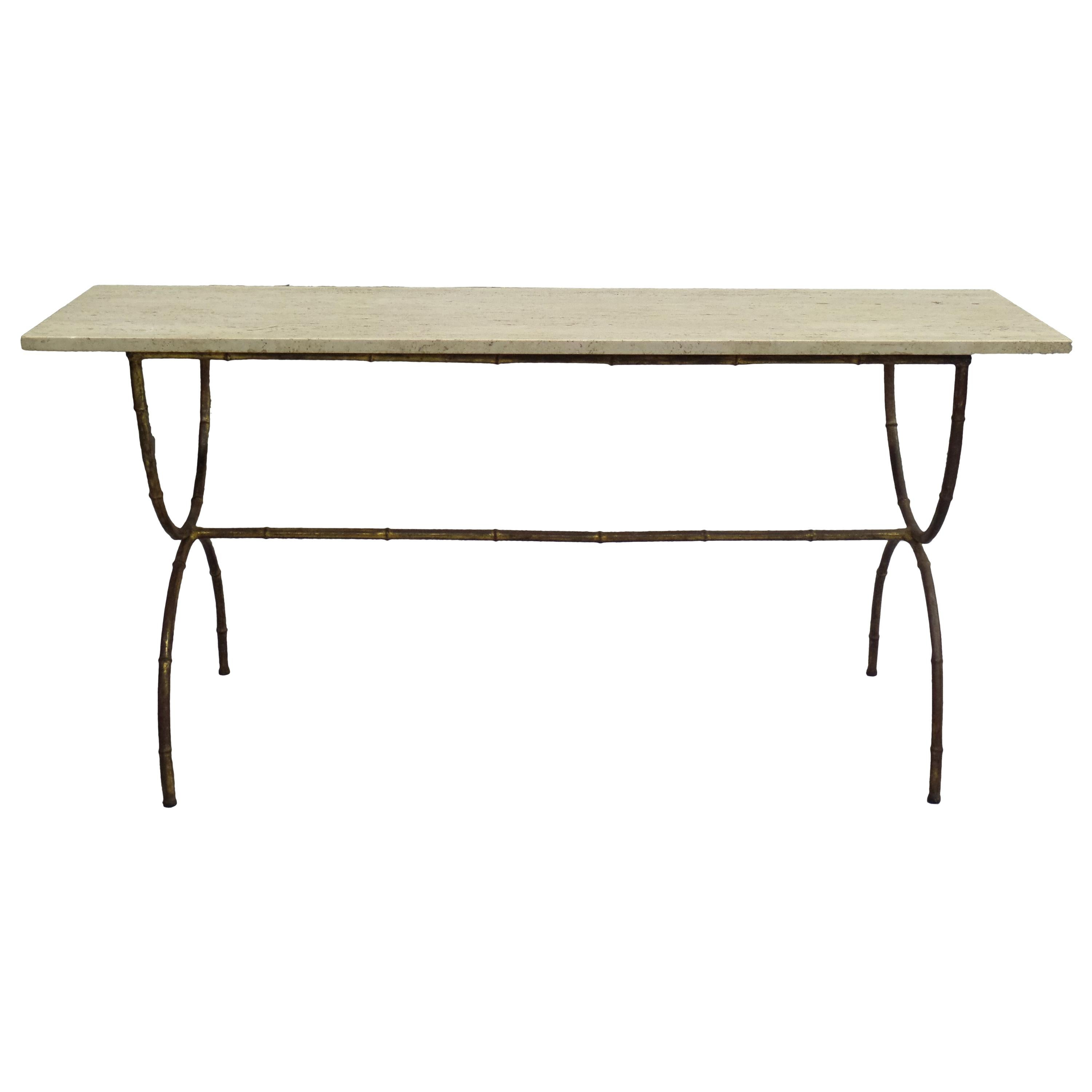 French Modern Neoclassical Gilt Iron Faux Bamboo Sofa Table/Console, Baguès