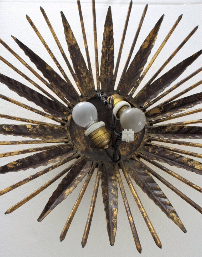 French Modern Neoclassical Gilt Iron Leafed Sunburst Flush Mount / Light Fixture For Sale 5