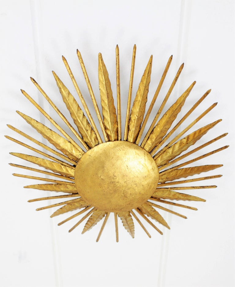20th Century French Modern Neoclassical Gilt Iron Leafed Sunburst Flush Mount / Light Fixture For Sale