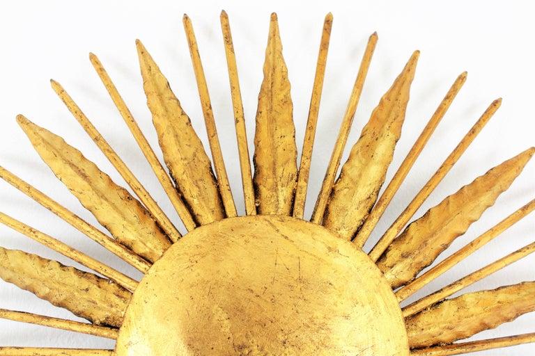 French Modern Neoclassical Gilt Iron Leafed Sunburst Flush Mount / Light Fixture For Sale 1