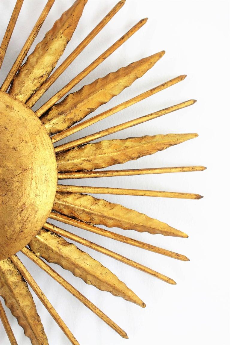 French Modern Neoclassical Gilt Iron Leafed Sunburst Flush Mount / Light Fixture For Sale 2