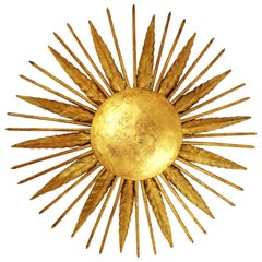 French Modern Neoclassical Gilt Iron Leafed Sunburst Flush Mount / Light Fixture