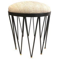French Modern Neoclassical Gilt Iron Vanity Stool / Bench, Gilbert Poillerat
