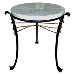 French Modern Neoclassical Gilt Wrought Iron & Travertine Side Table, Giacometti