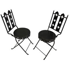 French Modern Neoclassical Hand Forged Iron Side Chairs, Gilbert Poillerat, Pair