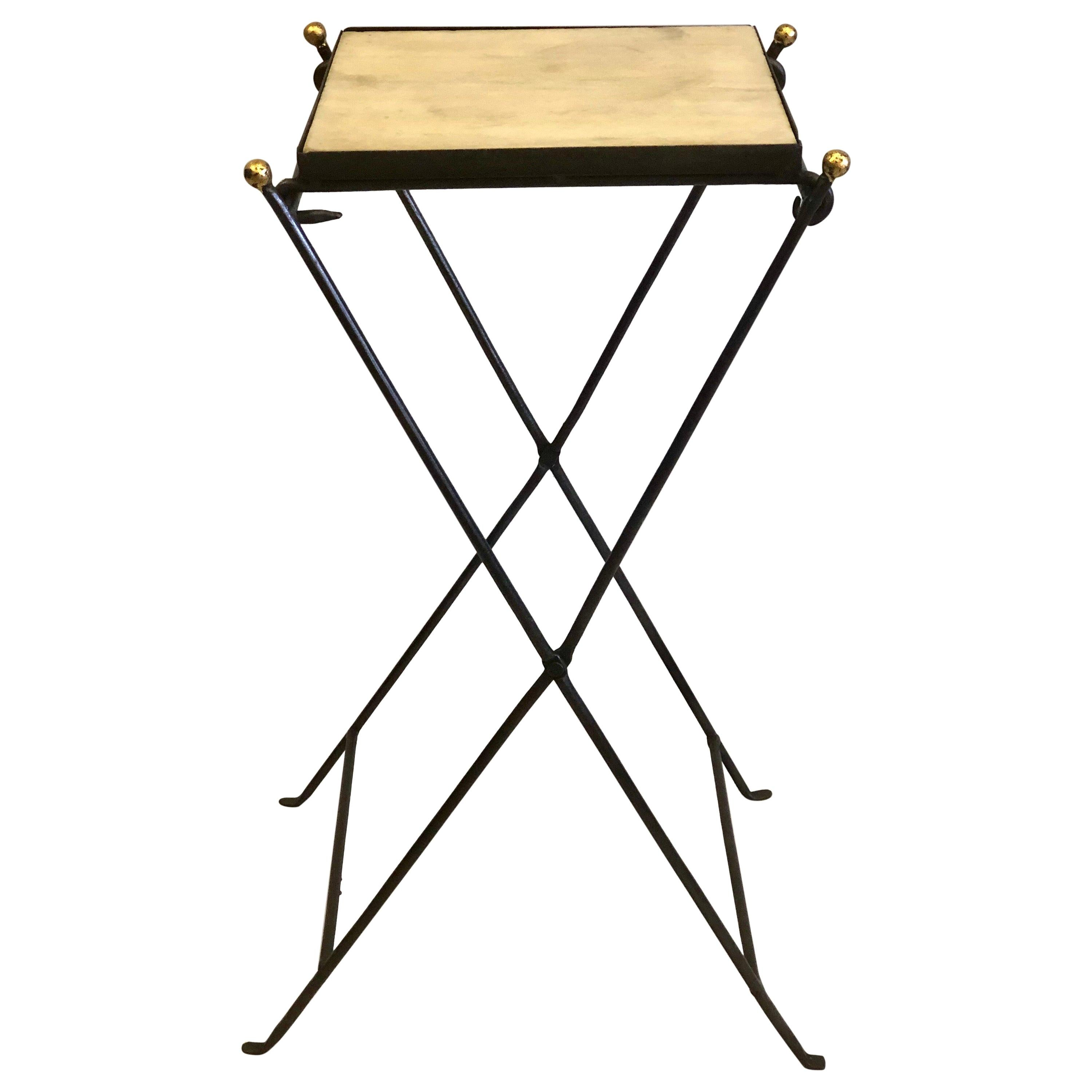 French Modern Neoclassical Iron and Marble Table in Manner of Jean-Michel Frank