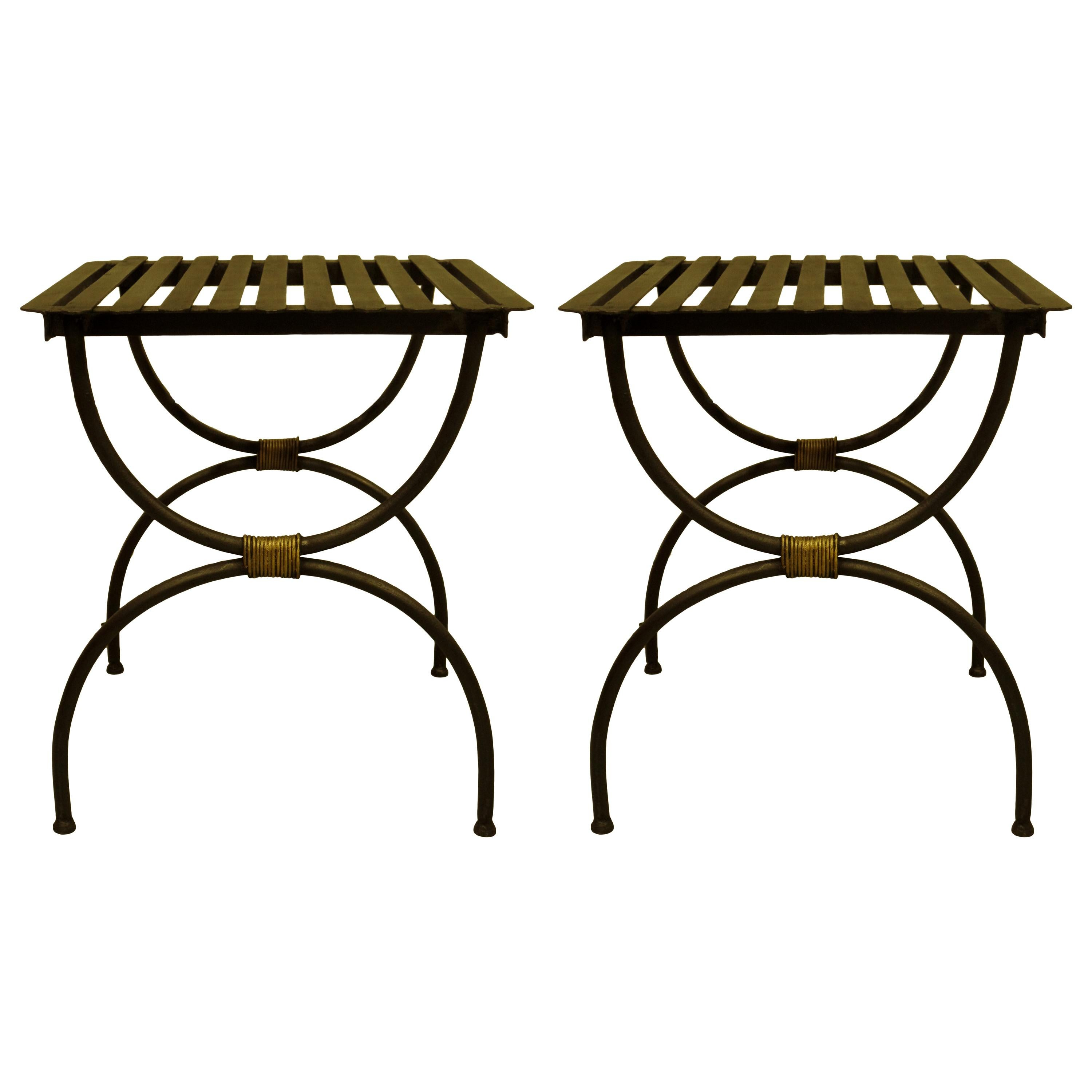 French Modern Neoclassical Iron Benches / Luggage Racks, Jean Michel Frank, Pair