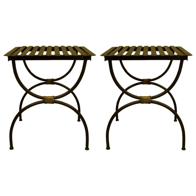 French Modern Neoclassical Iron Benches / Luggage Racks, Jean Michel Frank, Pair For Sale