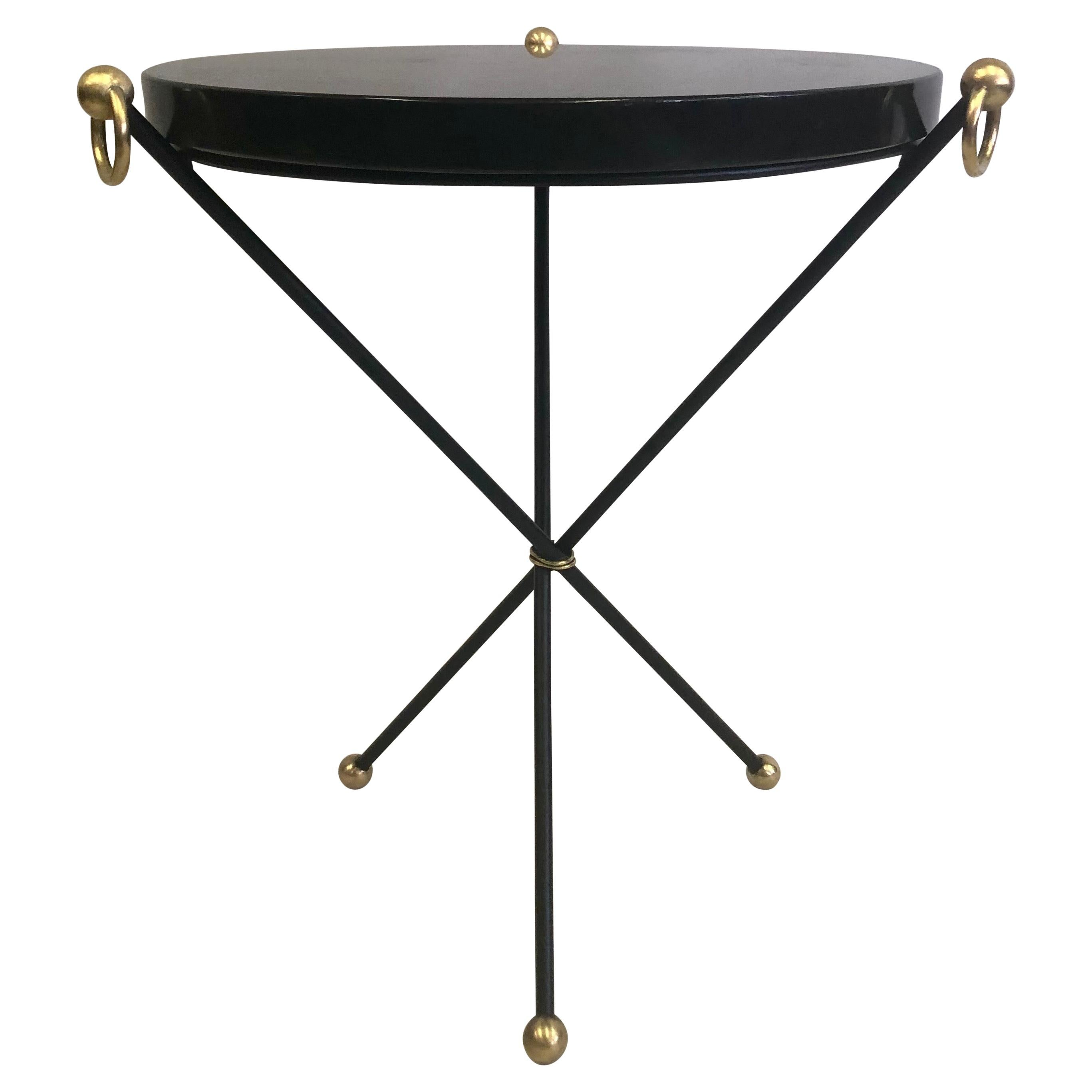 French Modern Neoclassical Iron, Brass & Stone Side Table Attr. to Jacques Adnet