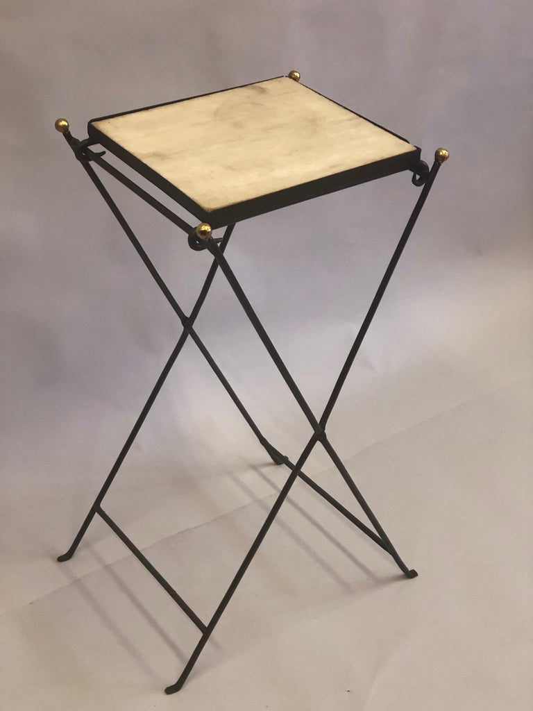 French Modern Neoclassical Iron and Marble Table in Manner of Jean-Michel Frank For Sale 2