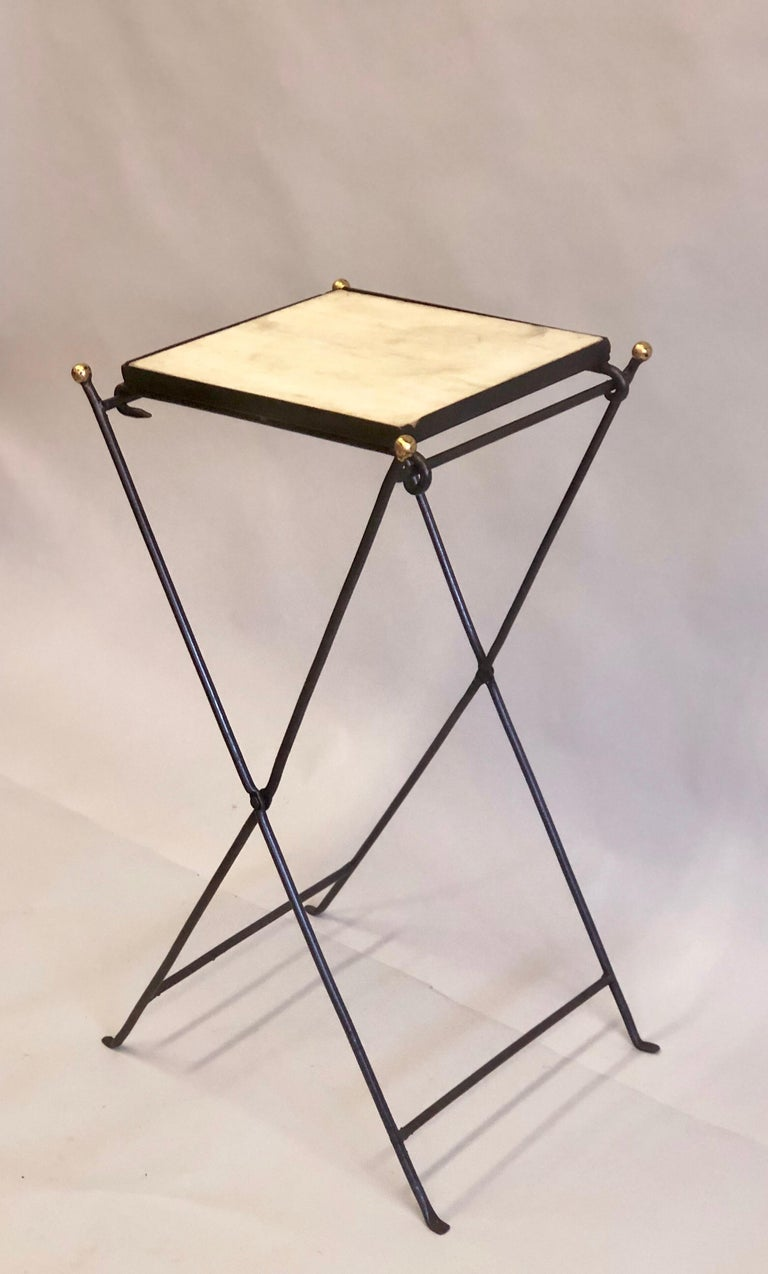 French Modern Neoclassical Iron and Marble Table in Manner of Jean-Michel Frank For Sale 3