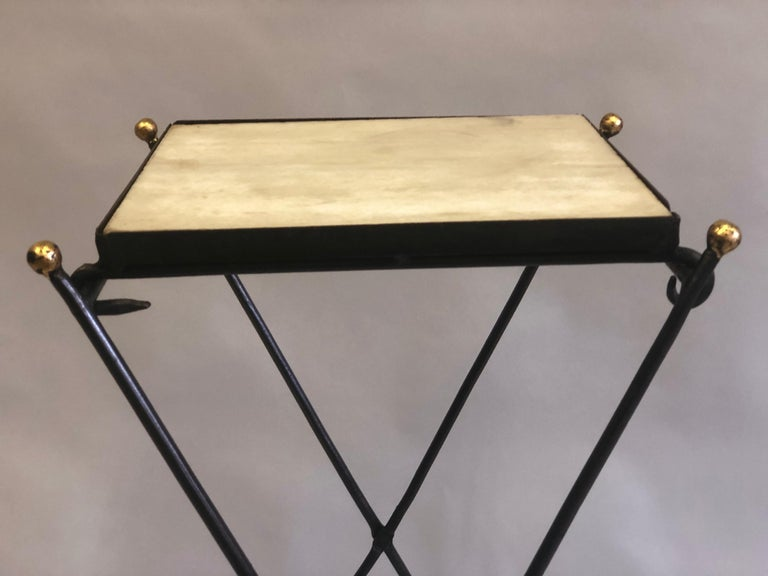French Modern Neoclassical Iron and Marble Table in Manner of Jean-Michel Frank For Sale 6