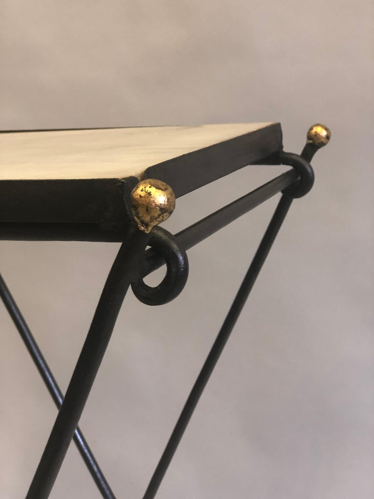 French Modern Neoclassical Iron and Marble Table in Manner of Jean-Michel Frank For Sale 7