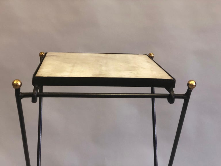 French Modern Neoclassical Iron and Marble Table in Manner of Jean-Michel Frank For Sale 5