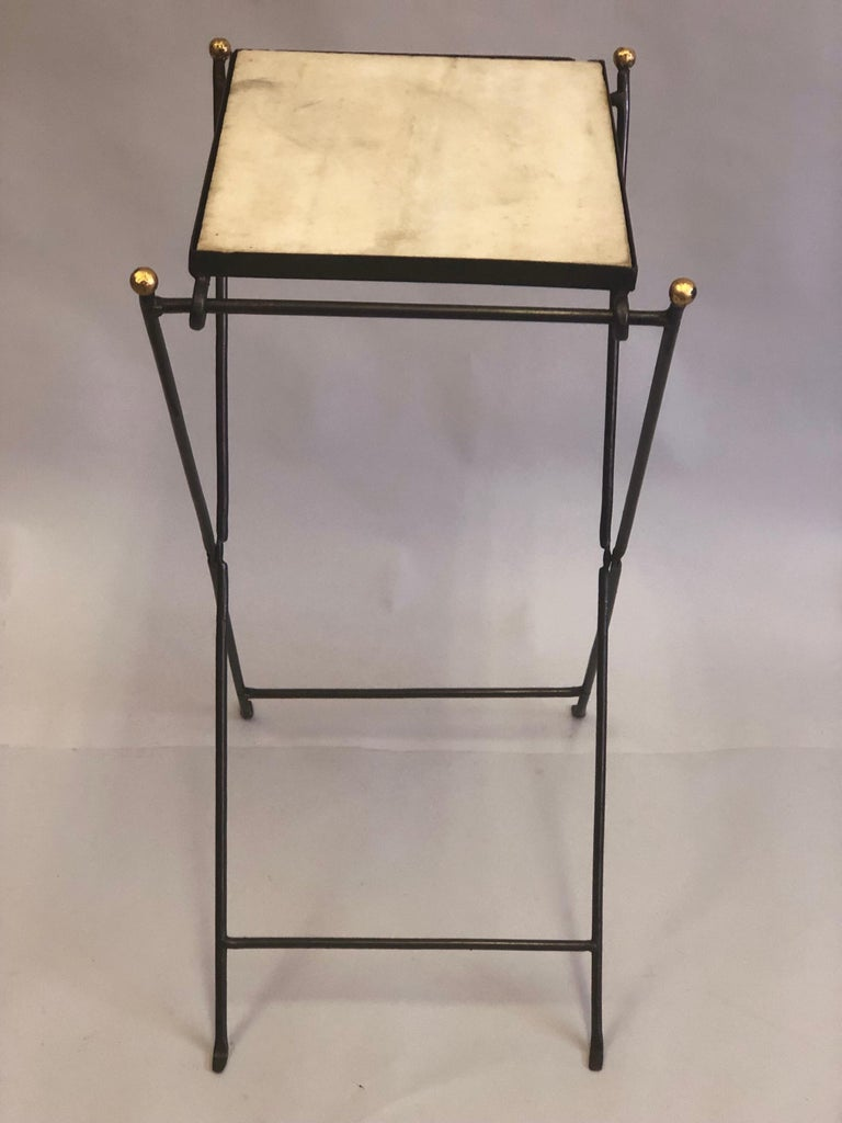 French Modern Neoclassical Iron and Marble Table in Manner of Jean-Michel Frank For Sale 4