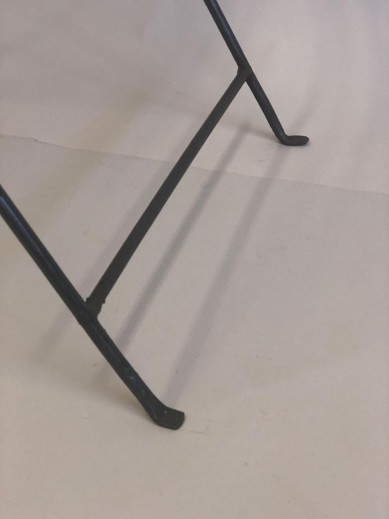 French Modern Neoclassical Iron and Marble Table in Manner of Jean-Michel Frank For Sale 10