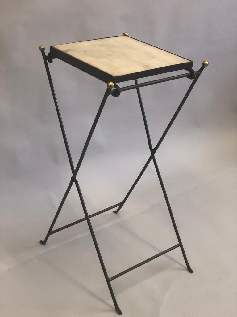 Wrought Iron French Modern Neoclassical Iron and Marble Table in Manner of Jean-Michel Frank For Sale