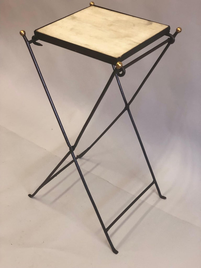20th Century French Modern Neoclassical Iron and Marble Table in Manner of Jean-Michel Frank For Sale