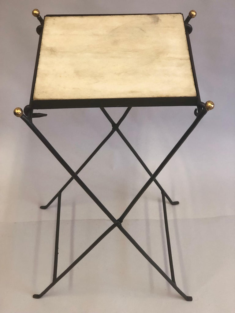 Mid-Century Modern French Modern Neoclassical Iron and Marble Table in Manner of Jean-Michel Frank For Sale