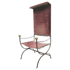 Modern Neoclassical Iron Throne / Lounge Chair, Jean-Charles Moreux Attributed