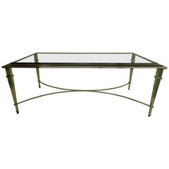 French Modern Neoclassical Polished Nickel and Glass Coffee Table, Maison Ramsay