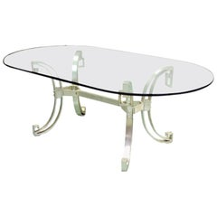 French Modern Neoclassical Silver Plated Bronze Dining Table by Maison Ramsay
