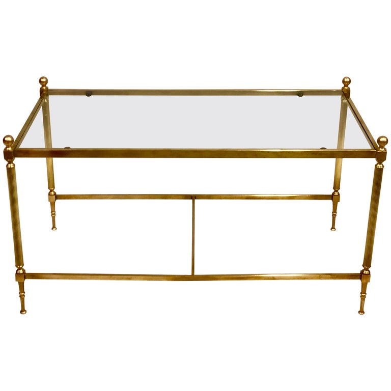 French Modern Neoclassical Solid Brass And Glass Coffee