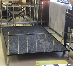 French Modern Neoclassical Steel & Brass Faux Bamboo Bed by Jacques Adnet, 1955