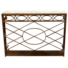 French Modern Neoclassical Wrought Iron and Limestone Console, circa 1860-1880