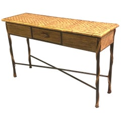 French Modern Neoclassical Wrought Iron and Rattan Console / Sofa Table