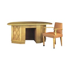 French Modern Neoclassical X-Frame Oak Desk Attributed to Jean-Charles Moreux