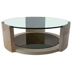 French Modern Parchment and Glass Coffee Table