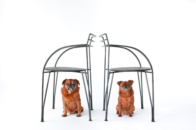 We can bring these chairs to you curbside within New York City if you are interested in seeing them in person. Inquiries welcome.  The Lune d'Argent armchair by Pascal Mourgue was the winner of the Fondation Cartier's Petit Café competition.