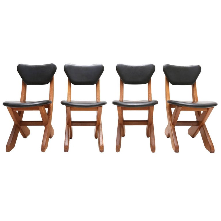 Naive 'wabi sabi' dining chairs, France, 1960s  would fit well in a Brutalist or rustic inspired interior.
