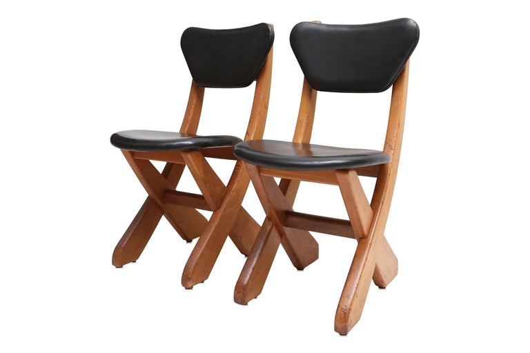 Mid-Century Modern French Modern Pine and Black Leather Dining Chairs For Sale