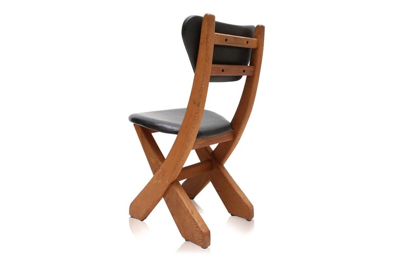 Danish French Modern Pine and Black Leather Dining Chairs For Sale