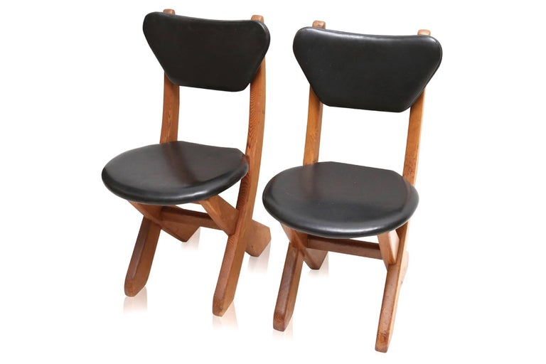 Mid-20th Century French Modern Pine and Black Leather Dining Chairs For Sale