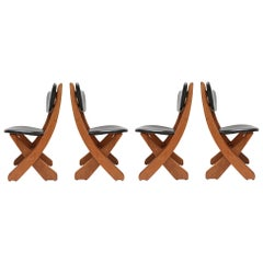 French Modern Pine and Black Leather Dining Chairs