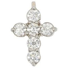 French Modern Platinum Diamond Cross Pendant