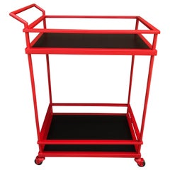 French Modern Red Enameled Bar Cart