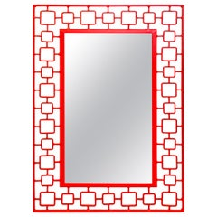 French Modern Red Enameled Iron Mirror