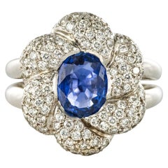 French Modern Sapphire Diamond White Gold Flower Cluster Ring