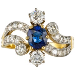 French Modern Sapphire Diamonds 18 Karat Yellow Gold Platinum Ring