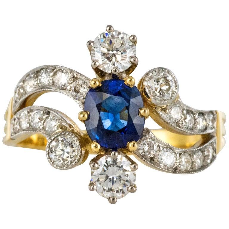 French Modern Sapphire Diamonds 18 Karat Yellow Gold Platinum Ring For Sale