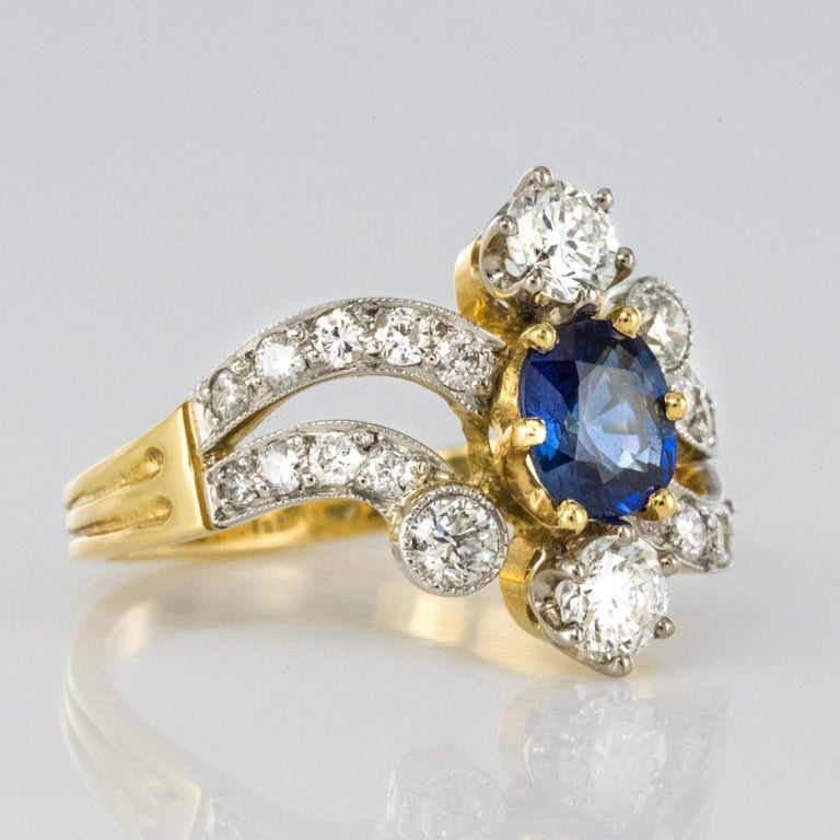 French Modern Sapphire Diamonds 18 Karat Yellow Gold Platinum Ring For Sale 9