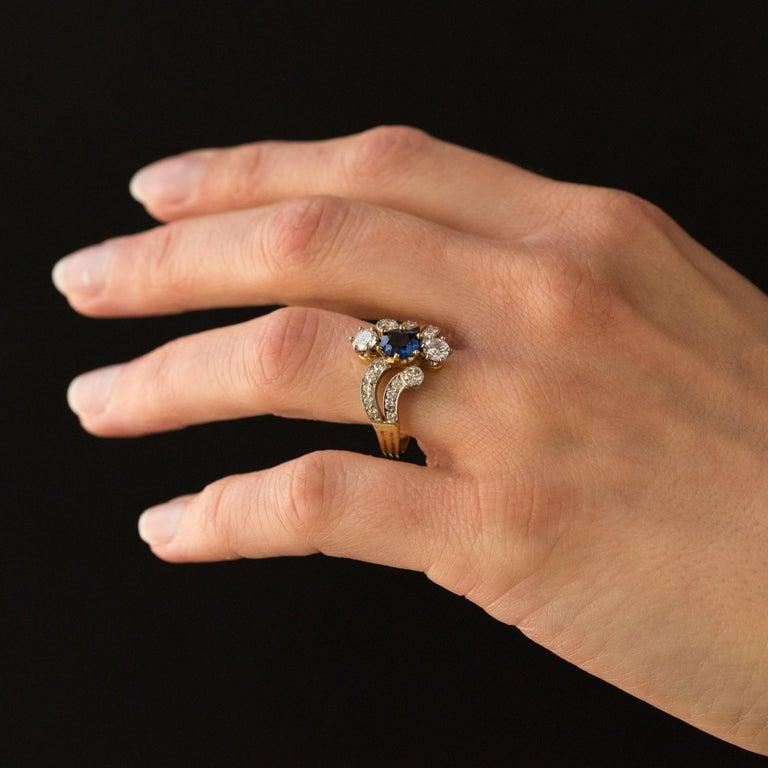 French Modern Sapphire Diamonds 18 Karat Yellow Gold Platinum Ring For Sale 11