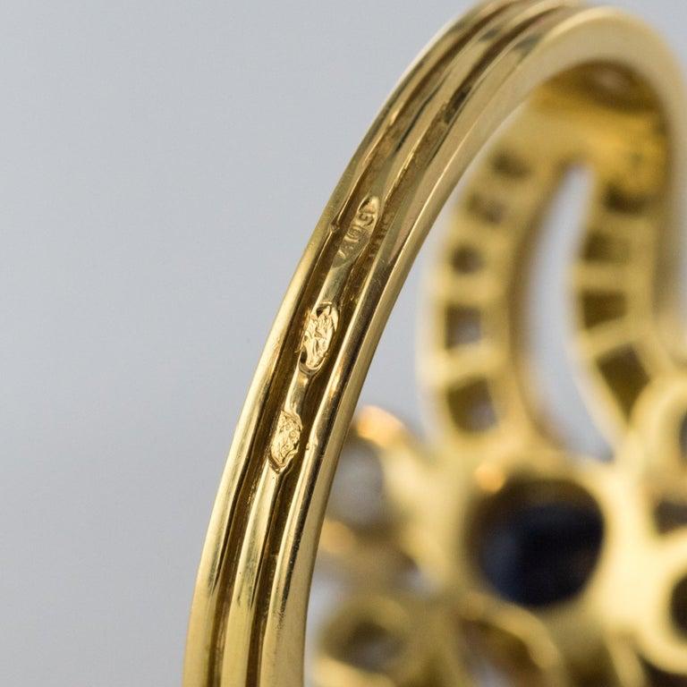 French Modern Sapphire Diamonds 18 Karat Yellow Gold Platinum Ring For Sale 12