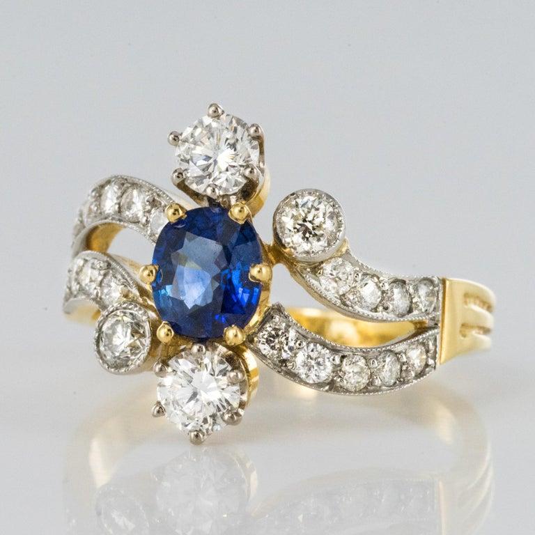 Women's French Modern Sapphire Diamonds 18 Karat Yellow Gold Platinum Ring For Sale